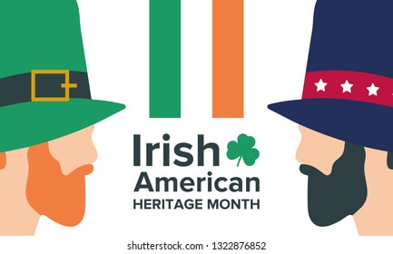 Irish-American Heritage Month. Annual celebrated all March in the United States to honor achievements and contributions of Irish immigrants to the history of America. Vector poster