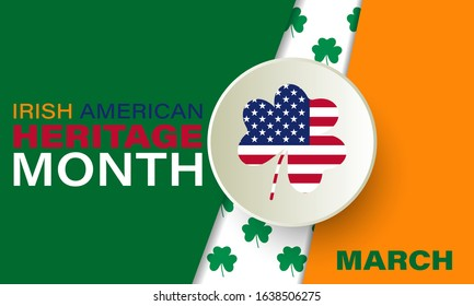 Irish-American Heritage Month. Celebrated all March in the United States. Background, poster, greeting card, banner design. Vector EPS 10