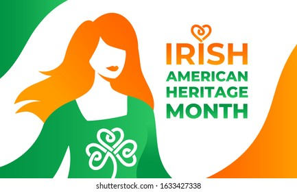 Irish-American Heritage Month. Vector illustration, colors Ireland flag. Horizontal banner with a character and the flag of Ireland. A red-haired, beautiful Irish woman in a green dress with Shamrock