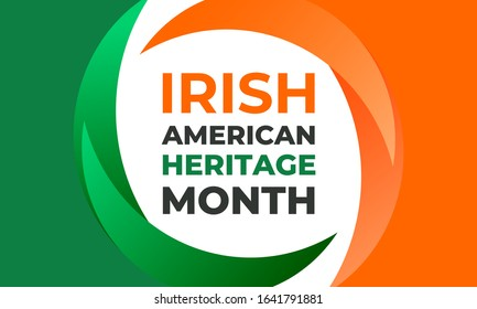 Irish-American Heritage Month. Vector illustration, colors of the Irish flag. Abstract trend design for banner, poster, card and social media. Square composition with round elements.