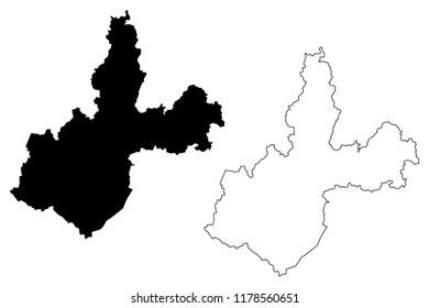 Irkutsk Oblast (Russia, Subjects of the Russian Federation, Oblasts of Russia) map vector illustration, scribble sketch Irkutsk Oblast map