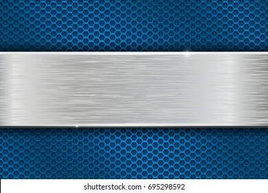 Iron brushed metal texture on blue perforated background. Vector 3d illustration
