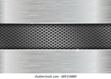 Iron brushed metal texture with metal perforation. Vector 3d illustration