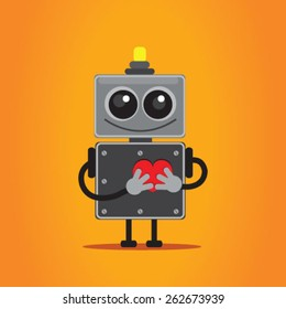 Iron cute robot in love. The character is standing on an orange background, hands holding a heart. vector image on the robot's head light. cartoon character of iron gray with rivets