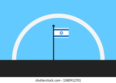 Iron dome over Israel - defense shield against hostile rocket, mortar, artillery and aerial attack. Vector illustration.