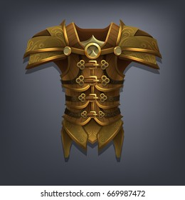 Iron fantasy chest armor for game or cards. Vector illustration.