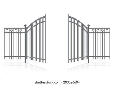 Iron fence with gate - vector illustration.