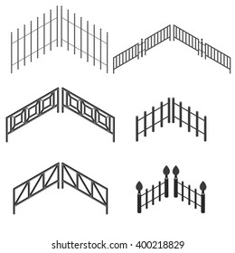 Iron fence in isometric. The Set of metal urban decorative elements. Vector illustration. Isolated on white background.