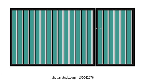 Iron gate with door. Vector EPS10. Isolated on white background.