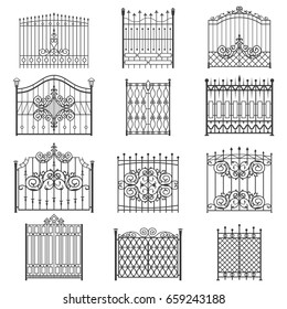 Iron gate line art set. Uniquely designed for private safe, friendly and welcoming house or garden. Vector flat style illustration isolated on white background