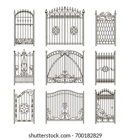 Iron gates with decorative elements. Vector monochrome pictures set