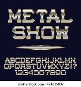 Iron gold letters and numbers. Club poster font. Isolated english alphabet with text Metal Show.