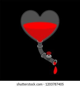 Iron heart with tap. Metal internal organ. Steel