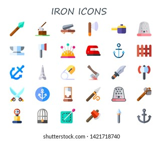 iron icon set. 30 flat iron icons.  Collection Of - spear, axe, cannon, pan, thimble, anvil, ax, pin cushion, anchor, fence, eiffel tower, safety pin, dagger, saber, guillotine