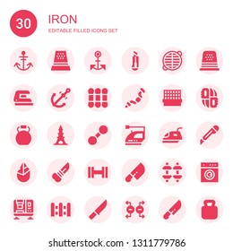 iron icon set. Collection of 30 filled iron icons included Anchor, Thimble, Cutter, Grate, Iron, Thread, Ratchet, Cage, Kettlebell, Eiffel tower, Dumbbell, Hand axe, Knife, Knifes