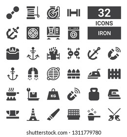 iron icon set. Collection of 32 filled iron icons included Fencing, Detergent, Cage, Cutter, Eiffel tower, Anvil, Iron, Kettlebell, Magnet, Weight, Frying pan, Fence, Grate, Anchor