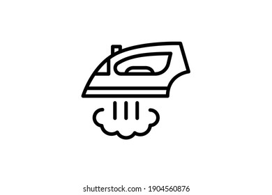 Iron icon. Vector linear sign, symbol, logo of iron for mobile concept and web design. Icon for the website of the store of household appliances, gadgets and electronics.