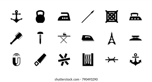 Iron icons. set of 18 editable filled iron icons: iron, no dry cleaning, saw, kettle bell, anchor, heating system, mace, spear, wire fence, eiffel tower, ironing table, nail