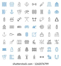 iron icons set. Collection of iron with magnet, terracotta, barbell, cutter, eiffel tower, bird cage, laundry, detergent, waffle iron, fence. Editable and scalable iron icons.