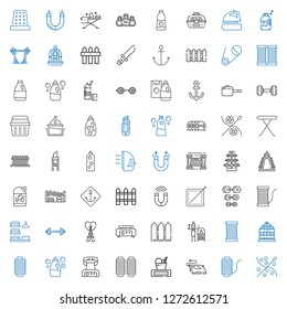 iron icons set. Collection of iron with sewing, thread, weight, waffle iron, detergent, bird cage, terracotta, fence, crepe maker, eiffel tower. Editable and scalable iron icons.
