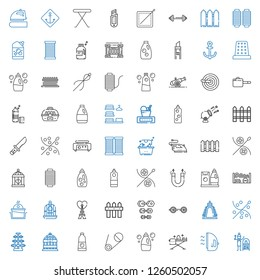 iron icons set. Collection of iron with terracotta, ironing, detergent, safety pin, bird cage, dumbbell, sewing, weight, barbell, fence, eiffel tower. Editable and scalable iron icons.
