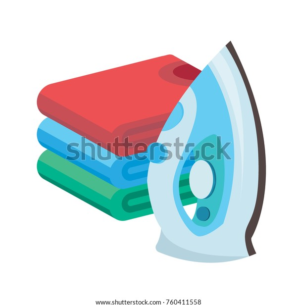 Iron Linen Vector Ironing Linen Steam Stock Vector (Royalty