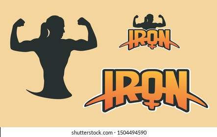 IRON logo vector. Strong and Power woman