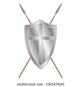 Iron medieval shield with cross and crossed spears, vector design