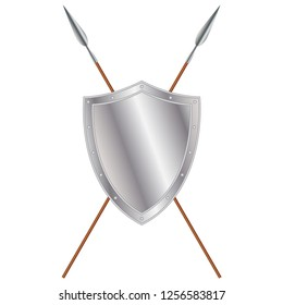 Iron medieval shield and crossed spears, vector design