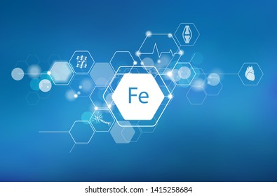 Iron. Scientific medical research, the effect on human health. The designation of Iron in the periodic table.