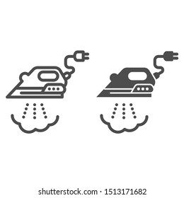 Iron with steam line and glyph icon. Ironing vector illustration isolated on white. Home appliance outline style design, designed for web and app. Eps 10