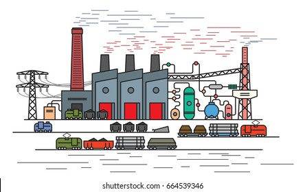 Iron and Steel Works, blast furnace. Steel and metal manufacturing. Rolled metal products. Heavy industry concept. Flat outline style, vector illustration