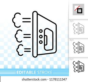 Iron thin line icon. Outline web sign of steamer. Flatiron linear pictogram with different stroke width. Simple household vector symbol, transparent background. Iron editable stroke icon without fill