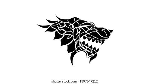 Iron Throne black animal icon. Stark Wolf head icon. Winterfell stark house flag emblem Vector illustration. EPS 10. Isolated.