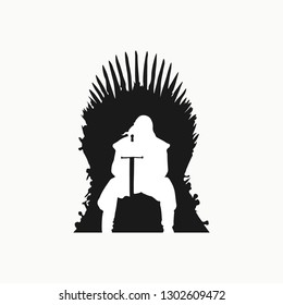 Iron throne of westeross with a silhouette of an old man on it. Iron throne icon. Stark sitting on the iron throne. Game of Trones icon. Vector illustration. EPS 10