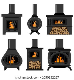 Iron wood burning stove with firewood and fire set. Vector flat old vintage fireplaces isolated on a white background.