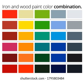 Iron and wood paint color combination. Catalog of paint color choices for iron and wood. Vector EPS 10.