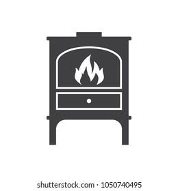iron wood stove furnace heater logo icon illustration