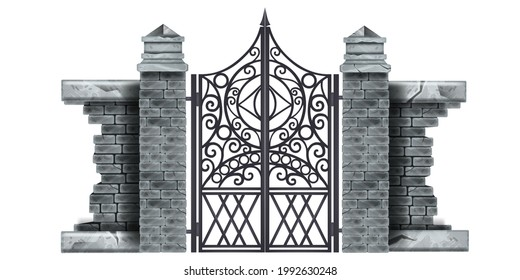 Iron wrought gothic metal gate, stone column, brick wall, decorated steel vector mansion entrance. Antique vintage architecture object, facade black Victorian grate. Classic iron gate illustration