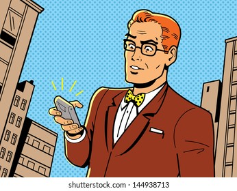 Ironic Illustration of a Retro 1940s or 1950s Man With Glasses, Bow Tie and Modern Smartphone