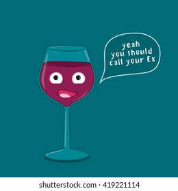 Ironic illustration what a glass of wine does to the mind