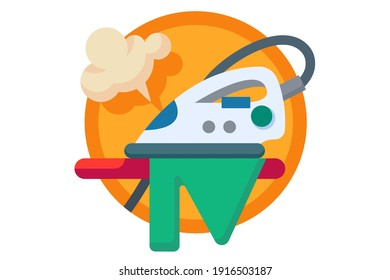 Ironing board and clothes with iron and steam concept vector illustration isolated on white background.