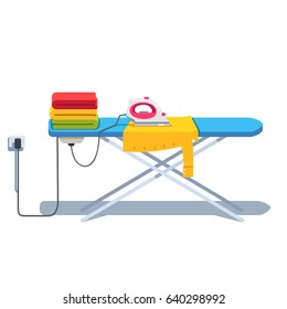 Ironing board with clothes stack and shirt under socket plugged electric iron. Flat style vector illustration isolated on white background.