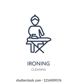 Ironing icon. Ironing linear symbol design from Cleaning collection. Simple outline element vector illustration on white background.