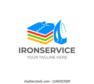 Ironing and laundry, iron and stack of folded shirts and T-shirts, logo design. Vertical position, functional modern electric iron and pile of clothes or clothes stack, vector design