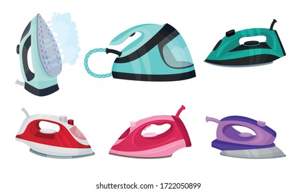 Irons as Electric Household Appliance for Steaming Clothes Vector Set
