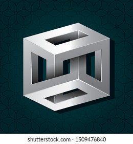 Irrational Cube Silver Metallic Style Impossible Geometric Figure Inspired by Escher - Chrome Isometric Object on Repeating Cube Pattern Wallpaper Background - Vector Outline Graphic Design