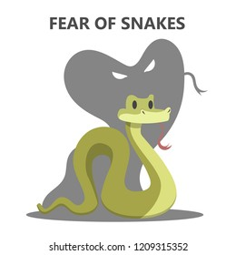 Irrational fear of snake. Danger from animal which can bite. Social anxiety and mental health disorder. Psychology concept. Isolated flat vector illustration