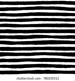 Irregular black striped pattern. Seamless hand drawn thin lines. Vector graphic print.