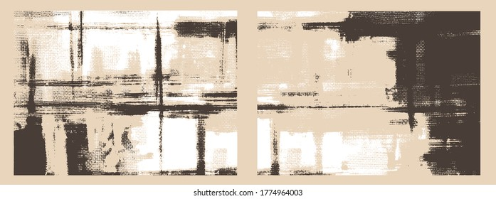Irregular cross hatching strokes on canvas. Oil, acrylic paint texture set. Abstract grungy backgrounds, light hand drawn monochrome pattern